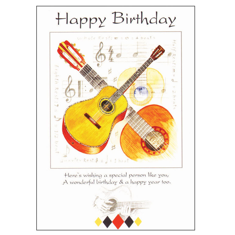 Greetings cards general birthday happy birthday card guitar design sparkle gift m4hsunfo