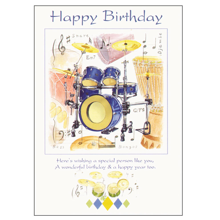 Sparkle Home And Gifts Happy Birthday Card Drums Design
